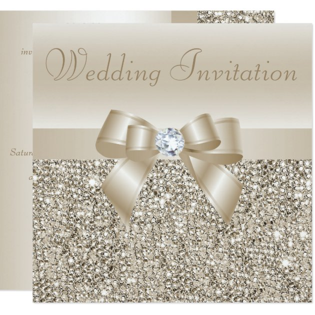champagne sequins, bow & diamond wedding card | zazzle, Wedding invitations