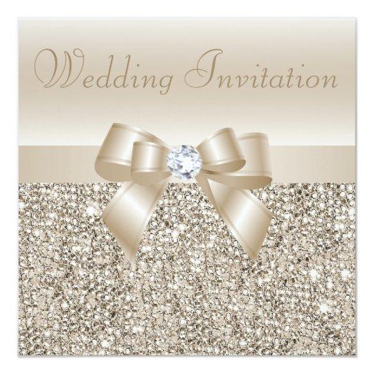 Diamond Wedding Invitation Label: Champagne Sequins, Bow & Diamond Wedding Invitation