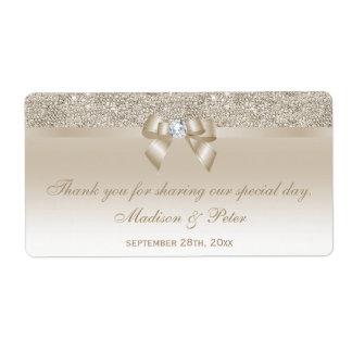 Champagne Sequins Bow Ribbon Diamond Favor Label