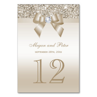 Champagne Sequins Bow Wedding Table Number Cards
