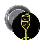 CHAMPAGNE SKETCH by jill in yellow on black Pinback Buttons