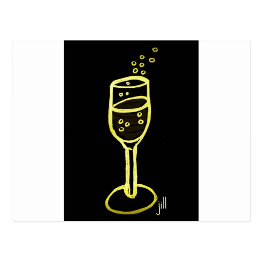 CHAMPAGNE SKETCH by jill in yellow on black Postcard