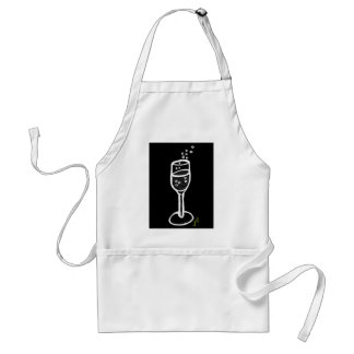 CHAMPAGNE SKETCH in white on black by Jill Adult Apron