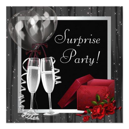 Champagne Sparkles Black White Surprise Party Personalized Invite