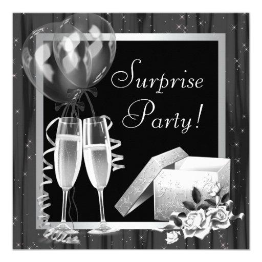 Champagne Sparkles Black White Surprise Party Announcement