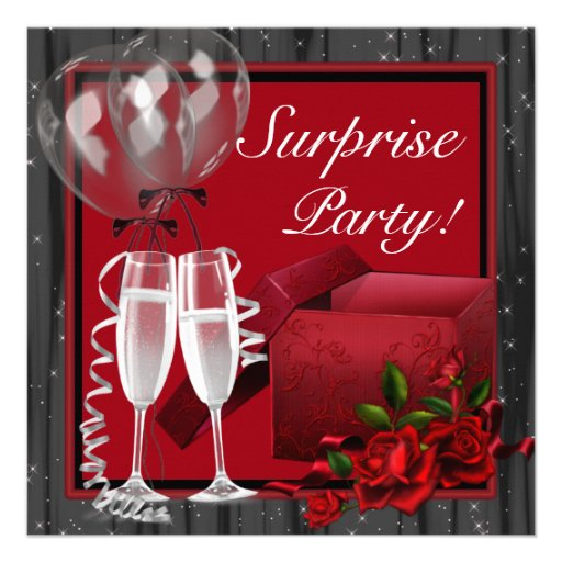Champagne Sparkles Red Surprise Party Custom Invitations