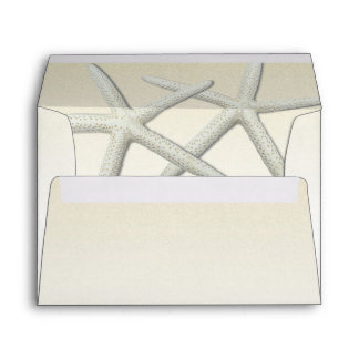 Champagne Starfish Custom Wedding Envelopes