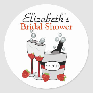 Champagne & Strawberry Customizable Favor Stickers
