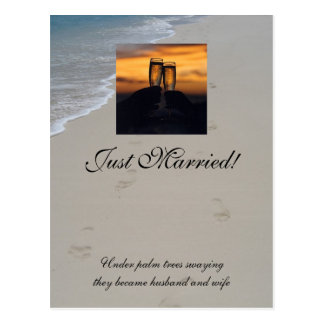 Champagne sunset, Just Married! Postcard