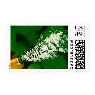 Champagne text design invitation postage