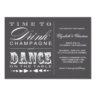Champagne Theater Bill Style Wedding Invitation
