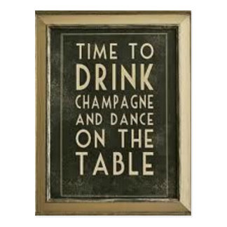 """CHAMPAGNE: """"TIME TO EAT, DRINK, DANCE"""" POSTCARDS"""