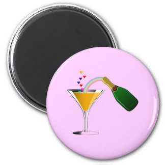Champagne Toast 2 Inch Round Magnet