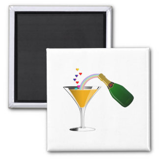 Champagne Toast 2 Inch Square Magnet