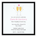 Champagne Toast Anniversary Party Invitation- whit 13 Cm X 13 Cm Square Invitation Card