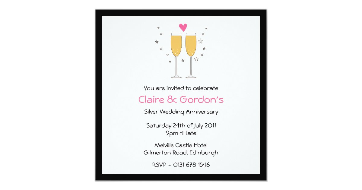 Champagne Toast Anniversary Party Invitation- whit