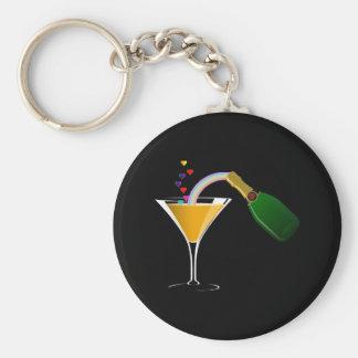 Champagne Toast Basic Round Button Keychain