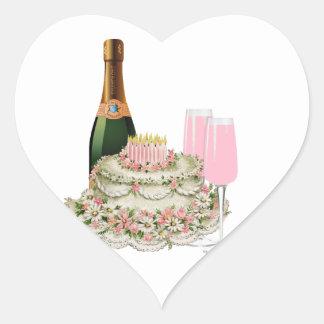 Champagne Toast Birthday Heart Sticker