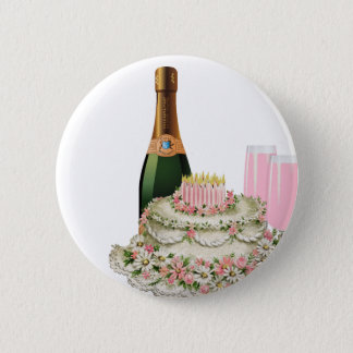 Champagne Toast Birthday Pinback Button