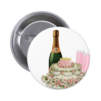 Champagne Toast Birthday Pinback Buttons