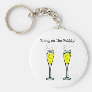 "CHAMPAGNE TOAST ""BRING ON THE BUBBLY"" KEYCHAIN"