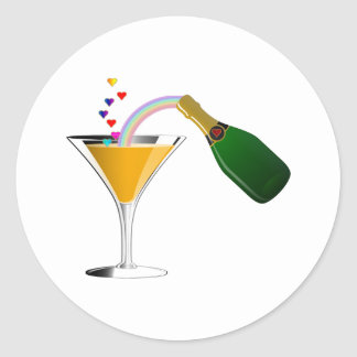 Champagne Toast Classic Round Sticker