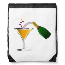 Champagne Toast Drawstring Bag
