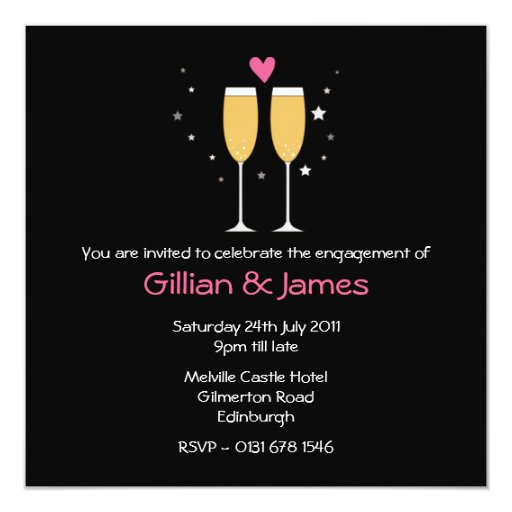 """Champagne Toast Engagement Party Invitation2 5.25"""" Square Invitation Card"""