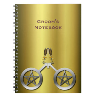 Champagne Toast Gay Handfasting Groom's Notebook