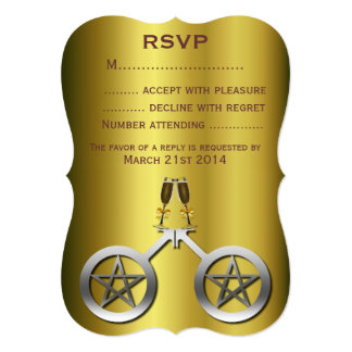 Champagne Toast Gay Wiccan Handfasting RSVP Card