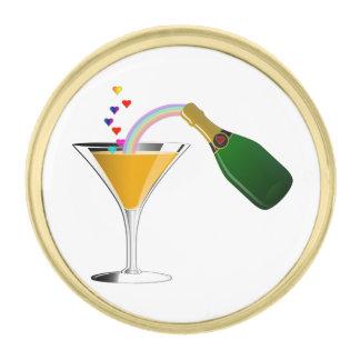 Champagne Toast Gold Finish Lapel Pin