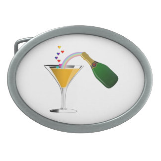 Champagne Toast Oval Belt Buckle