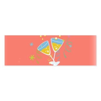 Champagne Toast. Retro Birthday Party Pink Vintage Business Card