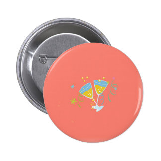 Champagne Toast. Retro Birthday Party Pink Vintage Pins