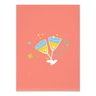 Champagne Toast. Retro Birthday Party Pink Vintage Card