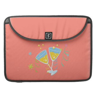Champagne Toast. Retro Birthday Party Pink Vintage MacBook Pro Sleeves