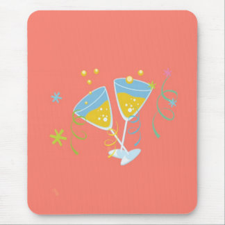 Champagne Toast Retro Birthday Party Pink Vintage Mouse Pad
