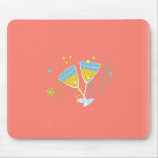 Champagne Toast Retro Birthday Party Pink Vintage Mouse Pads