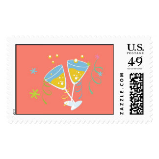 Champagne Toast. Retro Birthday Party Pink Vintage Stamp