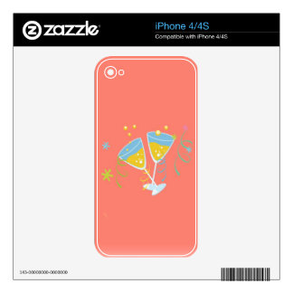Champagne Toast Retro Birthday Party Pink Vintage iPhone 4S Skins