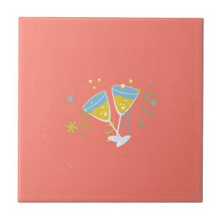 Champagne Toast. Retro Birthday Party Pink Vintage Ceramic Tiles