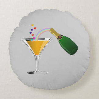 Champagne Toast Round Pillow