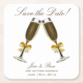 Champagne Toast Save the Date Square Paper Coaster