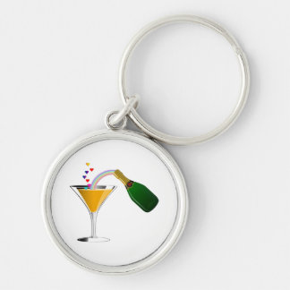 Champagne Toast Silver-Colored Round Keychain