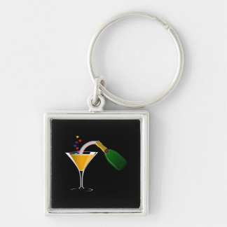 Champagne Toast Silver-Colored Square Keychain