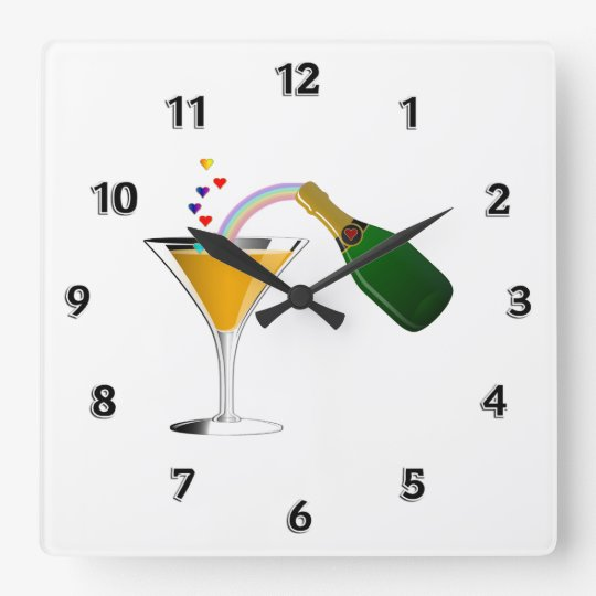 Champagne Toast Square Wall Clock
