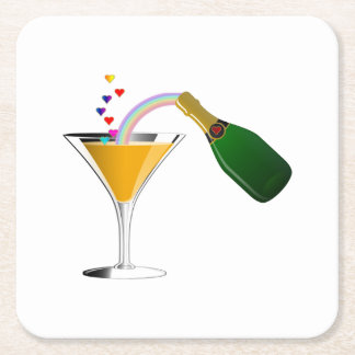 Champagne Toast Square Paper Coaster