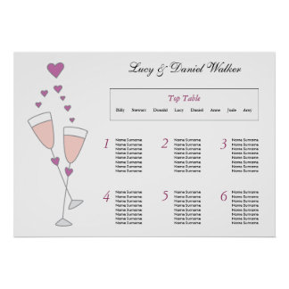 Champagne Toast Wedding Seating Table Plan Poster