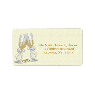 Champagne Wedding Address Label