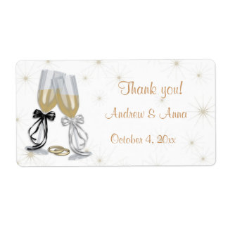 Champagne Wedding Label Shipping Label
